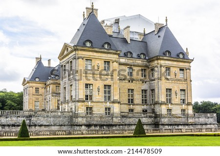 Chateau de Vaux-le-Vicomte (1661) - baroque French Palace located in Maincy, near Melun, in Seine-et-Marne department of France. It was for built Nicolas Fouquet - finances superintendent of Louis XIV - stock photo