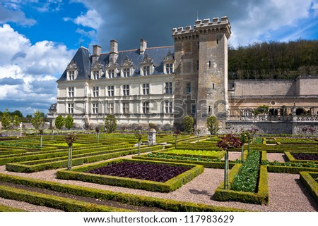 Chateau de Villandry is a castle-palace located in Villandry, in department of Indre-et-Loire, France. - stock photo