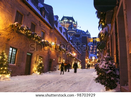 Chateau Frontenac at dusk, Quebec City, Canada - stock photo