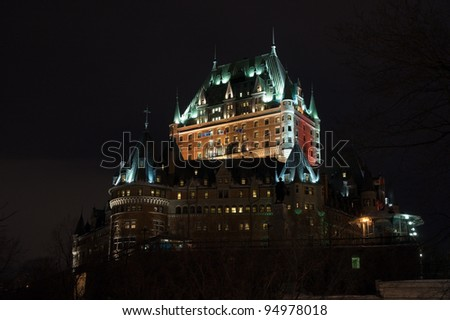 Chateau Frontenac at the night, Quebec City, Canada. - stock photo