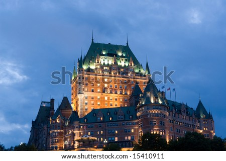 Chateau Frontenac, best known landmark of Quebec, Canada - stock photo