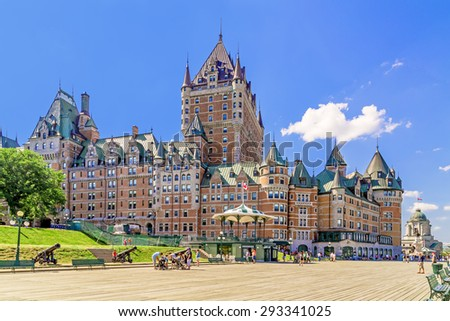 Chateau Frontenac in Old Quebec City, Canada. - stock photo