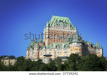 Chateau Frontenac in Quebec city, Canada. - stock photo