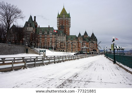 CHATEAU FRONTENAC in Quebec city in winter with snow - stock photo