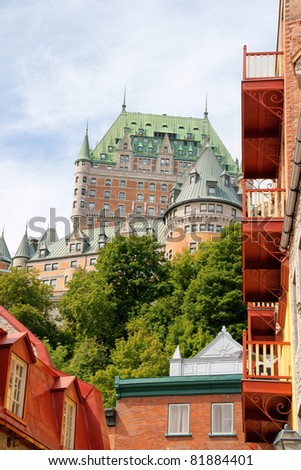 Chateau Frontenac in Quebec City on a cloudy day. View from the lower old city. - stock photo
