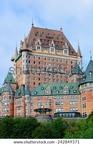 Chateau Frontenac in the day with cloud and blue sky in Quebec City - stock photo
