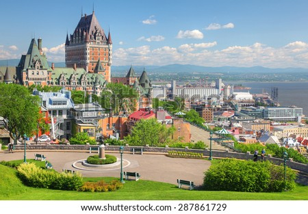 Chateau Frontenac in the Old Quebec City  - stock photo