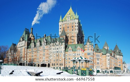 Chateau Frontenac in winter, Quebec City, Canada - stock photo