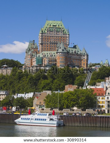 Chateau Frontenac, located in Quebec City, sits majestically over the St. Lawrence Seaway in Canada.