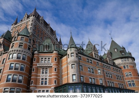 Chateau Frontenac, Quebec, Canada, in winter.