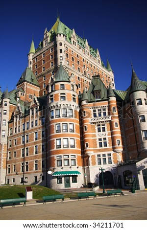 Chateau Frontenac - The most famous landmark in Quebec City. - stock photo