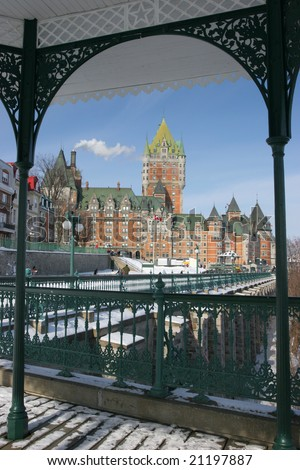 Chateau Frontenac view from Dufferin Terrace - stock photo