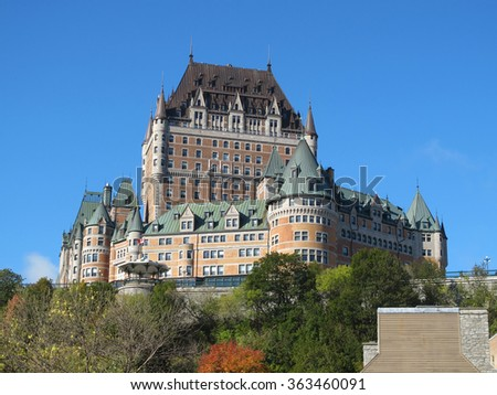 Chateau Frontenac with blue sky background, Quebec City, Canada - stock photo