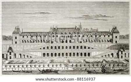 Chateau Neuf de Saint-Germain-en-Laye, then mostly demolished. By unidentified author, published on Magasin Pittoresque, Paris, 1844 - stock photo