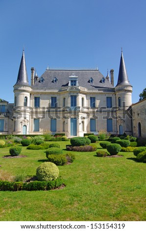 Chateau Palmer is a famous wine estate of Bordeaux wine. France - stock photo