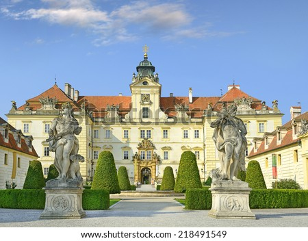Chateau Valtice, Czech Republic, Lednice-Valtice Cultural Landscape is World Heritage Site by UNESCO. Valtice is one of the most impressive baroque residences of Central Europe. - stock photo