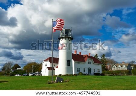 Chatham Lighthouse, built in 1808, Cape Cod, Massachusetts - stock photo
