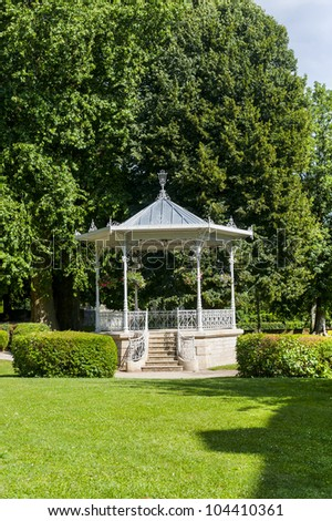 Chatillon-sur-Seine (Cote-d'Or, Burgundy, France) - White gazebo in the park - stock photo