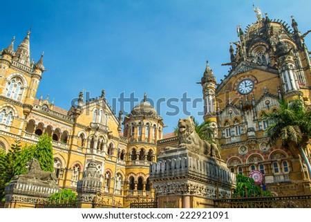 Chatrapati Shivaji Terminus earlier known as Victoria Terminus in Mumbai, India - stock photo