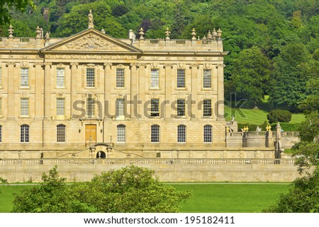 CHATSWORTH, UK - JUNE 19, 2013: Chatsworth House (in the Peak District, England), home of the Duke and Duchess of Devonshire (Cavendish family) is the Country's most visited stately home. - stock photo