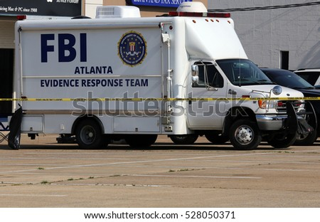 CHATTANOOGA, TN, USA - JULY 18: An FBI Evidence Response Team truck parked at the Armed Forces Career Center in Chattanooga, TN on July 18, 2015. The career center was attacked on July 16th, 2015.