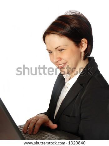 chattin on her laptop - stock photo
