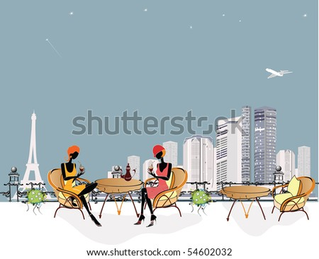 Chatting girls in the cafe - stock photo