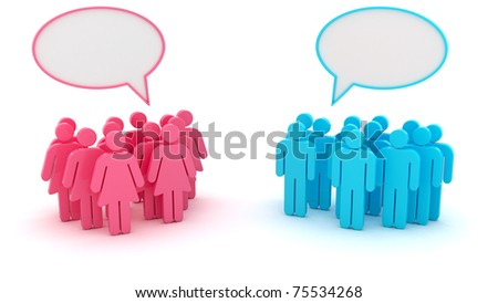 Chatting groups of men and women isolated - stock photo