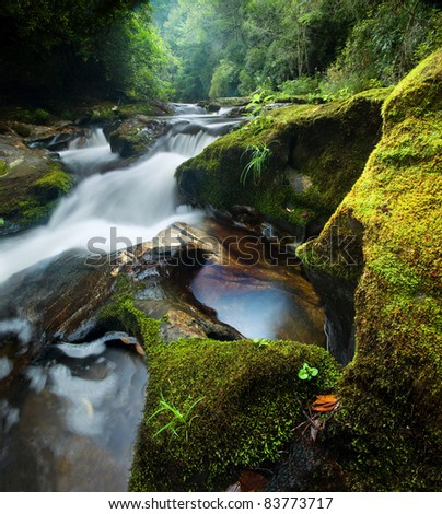 Chattooga River Waterfall: pictured here is a small waterfall in a wild, pristine part of North Carolina's Chattooga River, with corkscrewing granite formations - stock photo