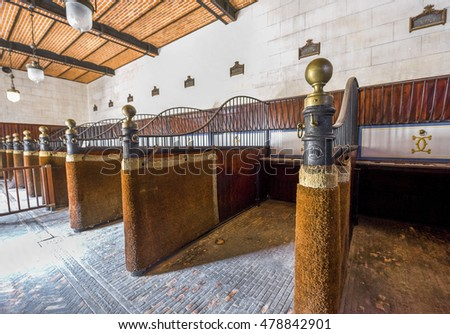 CHAUMONT,FRANCE-JUNE 2016: box stalls at the stables of Chaumont castle