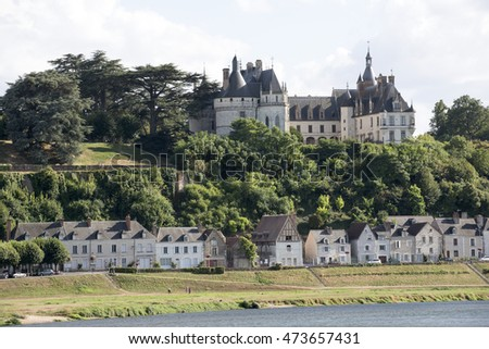 Chaumont Sur Loire France - August 2016 - The riverside town and Chateau Chamont which overlooks the River Loire