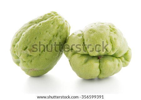 Chayote also known as chow chow and Chu Chu isolated on white. - stock photo