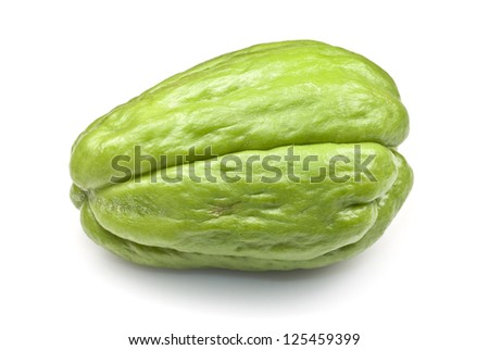 Chayote squash, also known as choko, against a white background. - stock photo