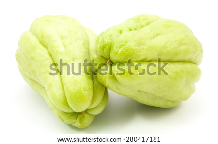 chayote with leafs on white background - stock photo