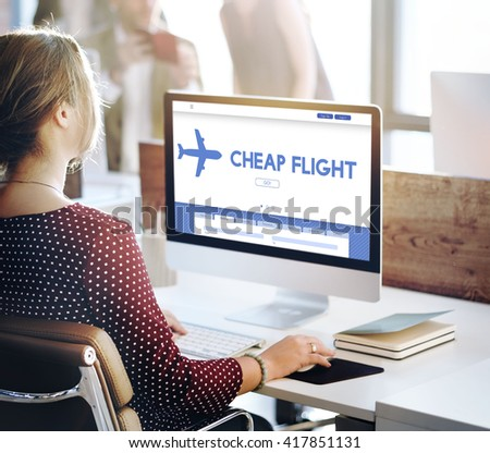 Cheap Flight Offer Traveling Website Concept - stock photo