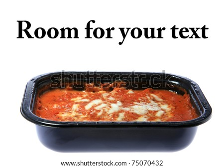 "Cheap ""Microwave TV Dinner"" Lasagna, isolated on white.  Room for your text - stock photo"