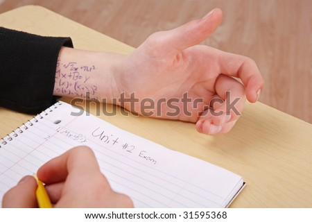 cheating on a test - stock photo