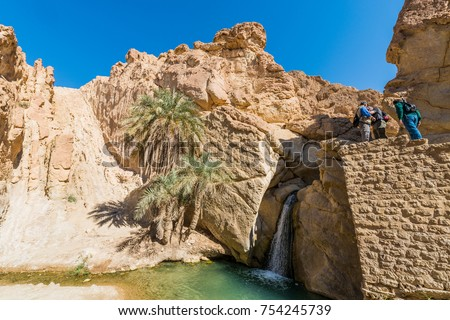 CHEBIKA, TN - MARCH 17, 2017: Chebika Oasis lies at the foot of the mountains of the Djebel el Negueb and it is known as Qasr el-Shams (Castle of the Sun in Arabic).
