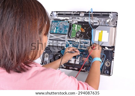 check and fix a dirty broken computer - stock photo