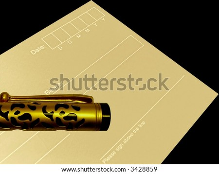 check and pen - stock photo