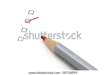 check box and pencil with focus on the checked box