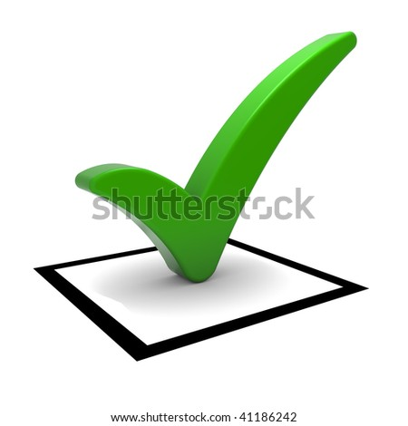 Check box with green check mark isolated on white. Part of a series. - stock photo
