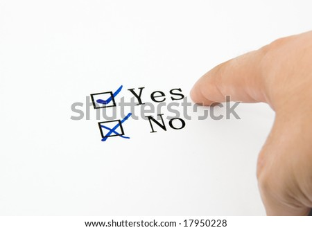 Check boxes and finger isolated on white background
