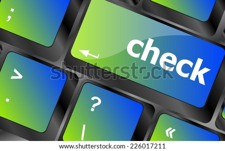 check button on computer pc keyboard key - stock photo
