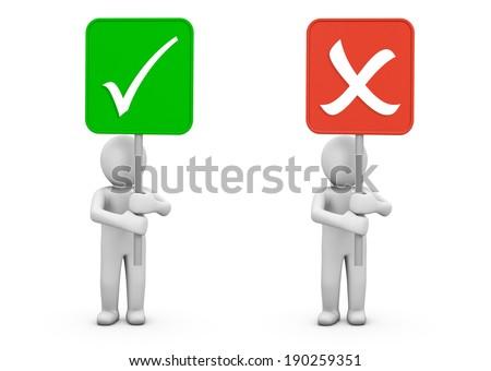 check correct and incorrect symbol - stock photo