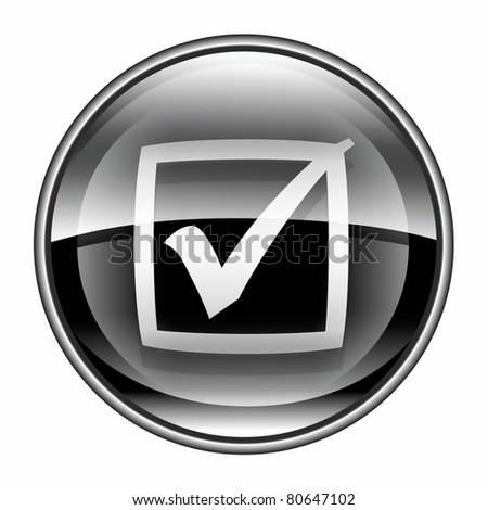 check icon black, isolated on white background.