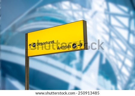Check in, Airport Departure & Arrival information board sign - stock photo