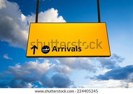 Check in, Airport Departure & Arrival information sign - stock photo