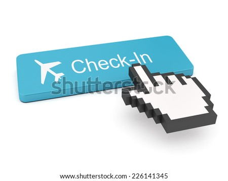 Check-in Button on Keyboard  - stock photo