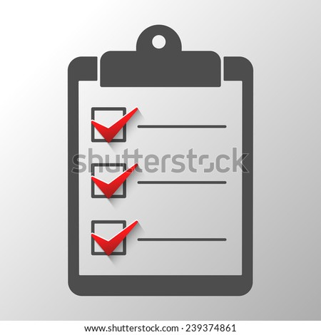 Check list  conceptual of a survey quality control questionnaire tasks.Abstract illustration - stock photo